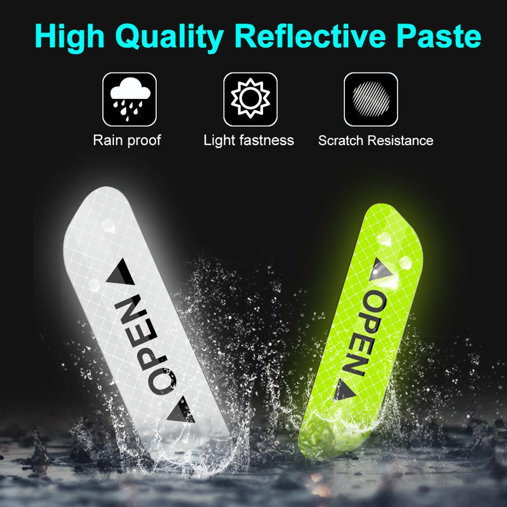 Image 4 - 4Pcs Car Door Stickers Universal Safety Warning Mark OPEN High Reflective Tape Door Stickers Auto Driving Exterior Accessories-in Reflective Strips from Automobiles & Motorcycles