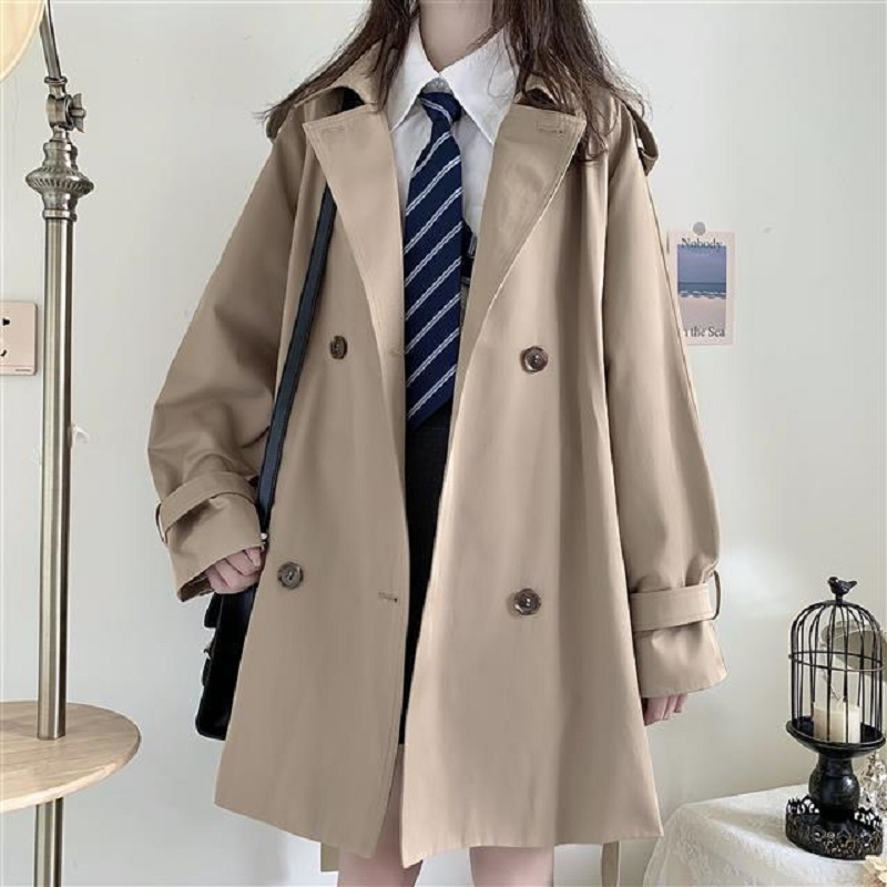 Mid-length trench coat Harajuku preppy Style double-breasted loose polo collar Japanese style coat Korean vintage women's coat 1