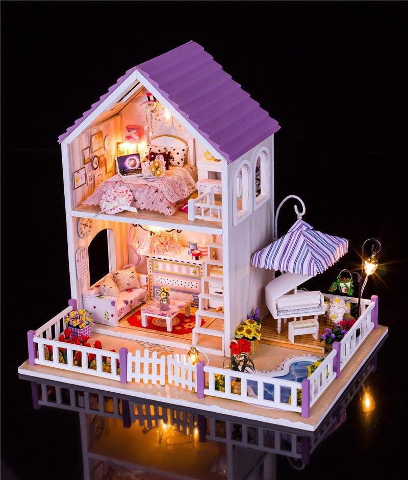 Casa de boneca villa móveis jardim grande dollhouse led luz figuras miniaturas madeira diy crianças casa brinquedos