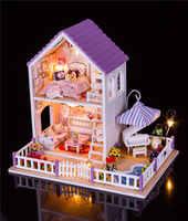 Villa para muñecas muebles jardín casa de muñecas grandes figuras de luz led miniaturas de madera diy niños hogar juguetes casa de brinquedo