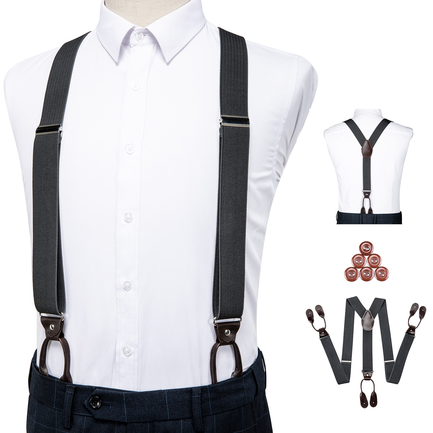 Unisex Vintage Suspenders Men Braces Adjustable 6 Button Suspender Elastic Y-Shape Strap Pants Trousers Gray Leather PU DiBanGu