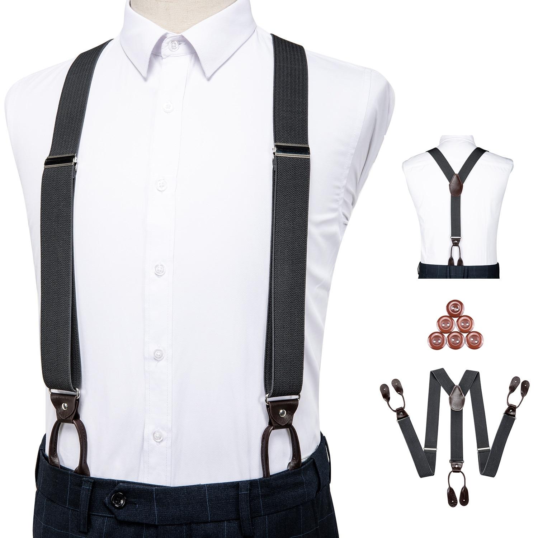 Unisex Vintage Suspenders Men Braces Adjustable 6 Button Suspender Elastic Y-Shape Strap Pants Trousers Gray Leather PU DiBanGu