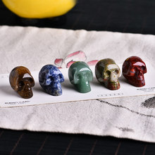 Boîte cadeau 12 en 1, cristal agate minerai quartz rose, sculpture de crâne en cristal, petites pièces de sculpture en cristal, décorations de famille, cadeaux