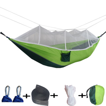 Portable Mosquito Net Camping Hammock Outdoor Garden Travel Swing Parachute Fabric Hang Bed Hammock   Drop Shipping ultralight outdoor camping hunting mosquito net parachute hammock 2 person flyknit hammock garden hammock hanging bed