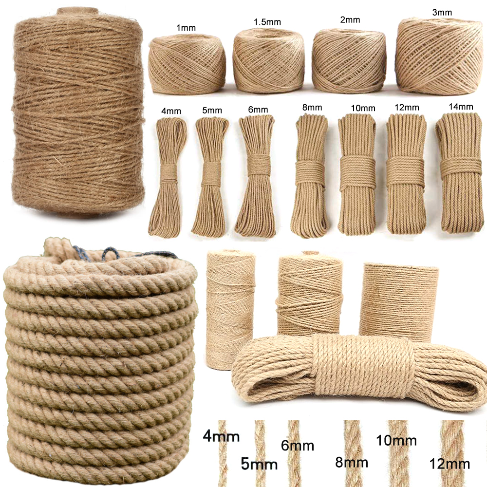 1-14mm Natural Jute Twine Vintage Jute Rope Cord String Twine Burlap For DIY Crafts Gift Wrapping Gardening Wedding Decor 2-100M