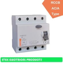 RCCB EKL1-63 4P 30MA 100MA 300MA A type 400/415V~ 50HZ/60HZ Residual current circuit breaker  16A 25A 32A 40A 50A 63A 80A