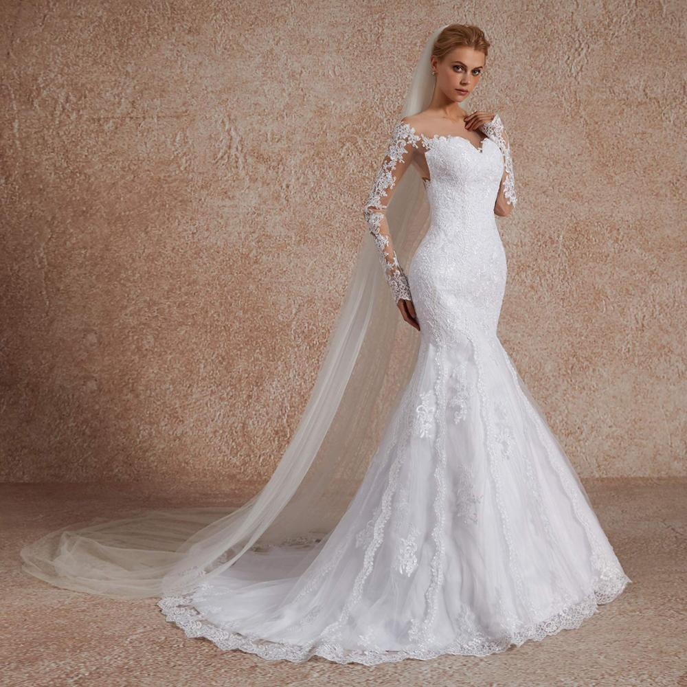 Illusion Lace Mermaid Wedding Dresses With Sleeves Vestido De Noiva Sereia Embroidered Slimming Appliques Wedding Gown Over Top