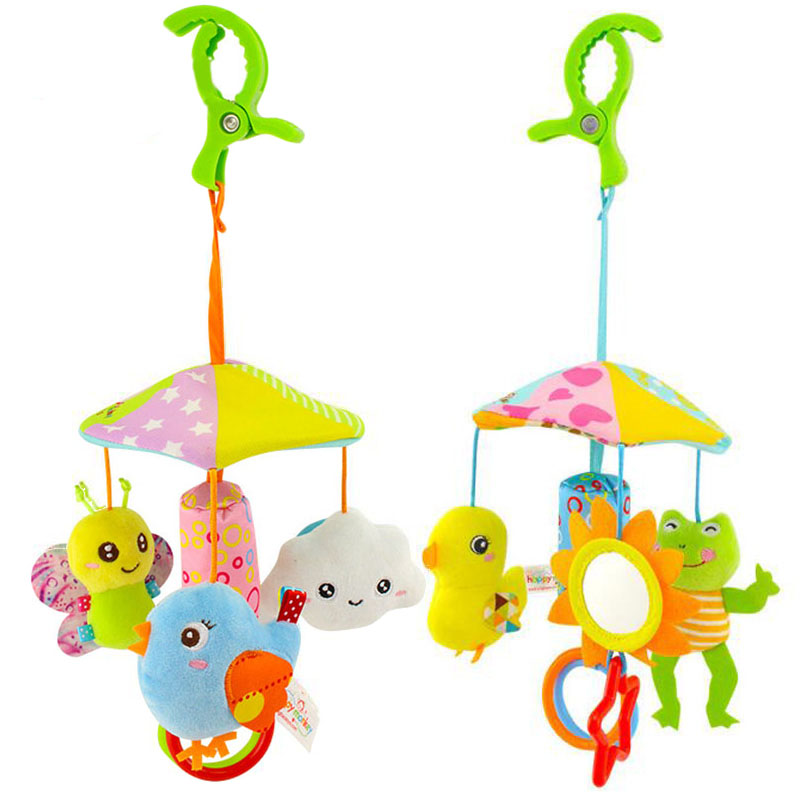 Baby Stroller Crib Pram Bed Hanging Toy Accessories Musical Rotating Plush Cartoon Cute Appease Soothing Hand-eye Coordination