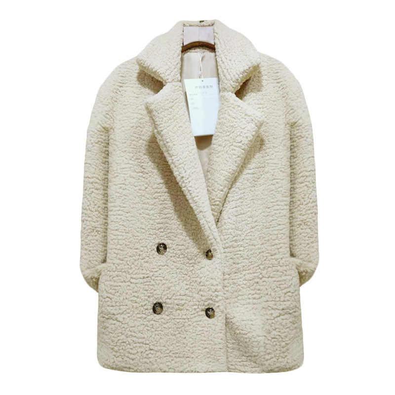 Осенняя Женская флисовая куртка, мягкие зимние меховые шубы из искусственного меха, Женская пушистая теплая Повседневная куртка-бомбер, базовая женская верхняя одежда CDR102