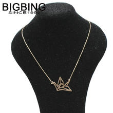BIGBING fashion jewelry Golden silver hollow Origami bird fashion necklace chains women jewelry necklace high quality V292(China)
