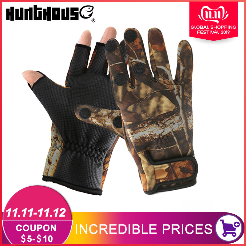 Fishing Gloves two Finger Neoprene PU Breathable Leather Warm Pesca Fitness Carp Fishing Accessories Winter Fishing Gloves