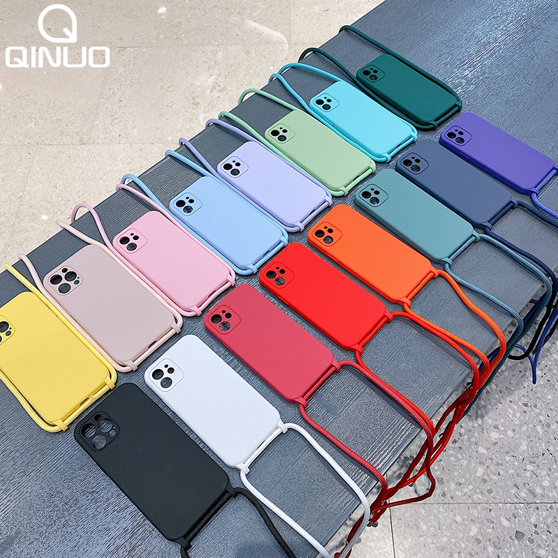 Crossbody Lanyard Liquid Silicone Case For iPhone 12 11 Pro Max XS X XR SE 2020 8 7 Plus Holder Neck Strap Cord Soft Color Cover 1