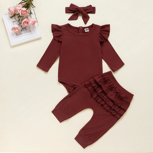 Image 4 - Newborn Baby Girl Clothes Autumn Infant Baby Clothes Outfits Knitted Bodysuit Top Romper Ruffle Pants Headband 3pcs Clothing Set