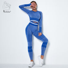 Women Vital Seamless Yoga Set Gym Clothing Fitness Leggings+Cropped Shirts Sport Suit Women Long Sleeve Tracksuit Active Wear(China)
