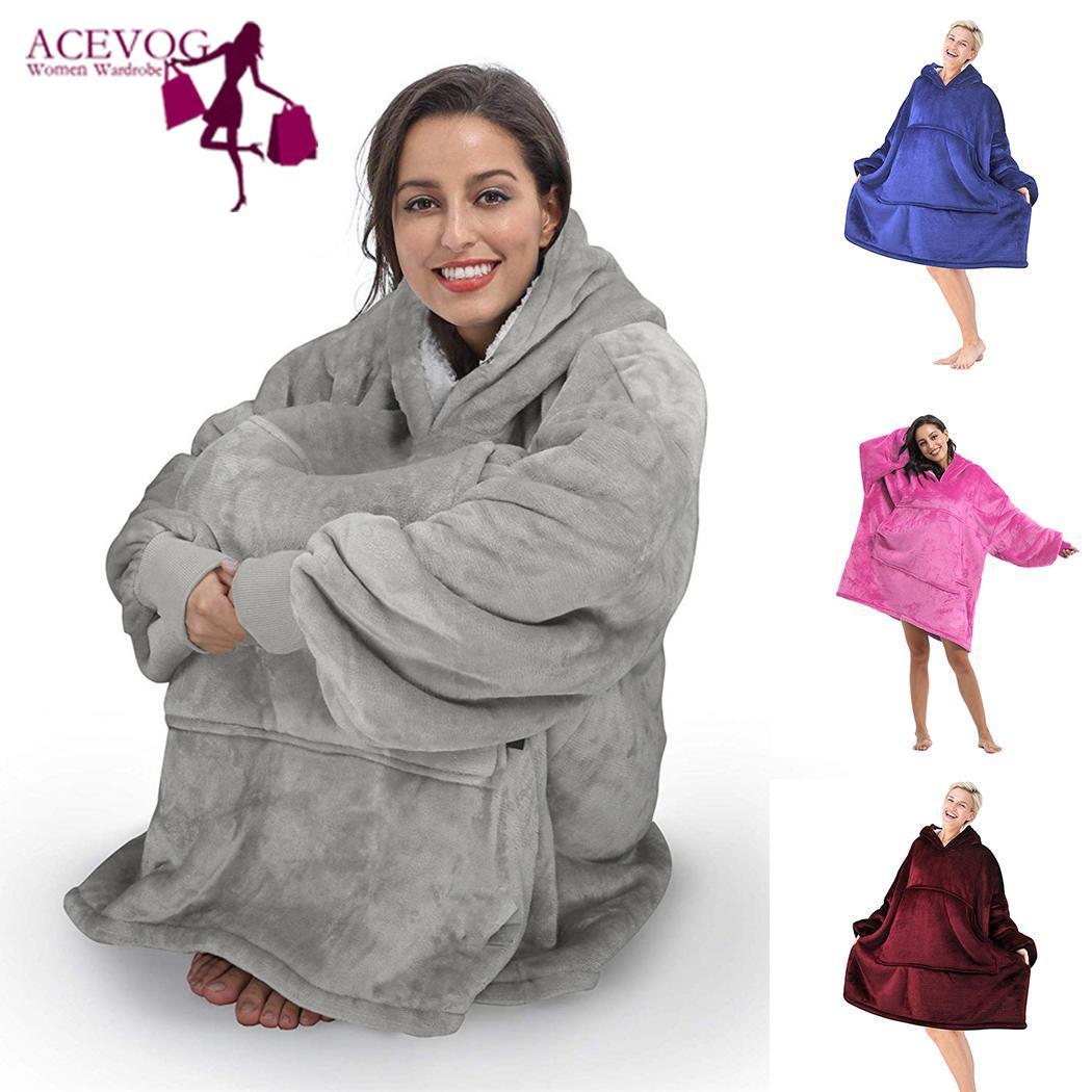 Women Men TV  Hooded Long Sleeve Casual Loose Solid Blanket Sweatshirt Pockets Winter TV Pocket Blankets Sofa Nap Coral Fleece