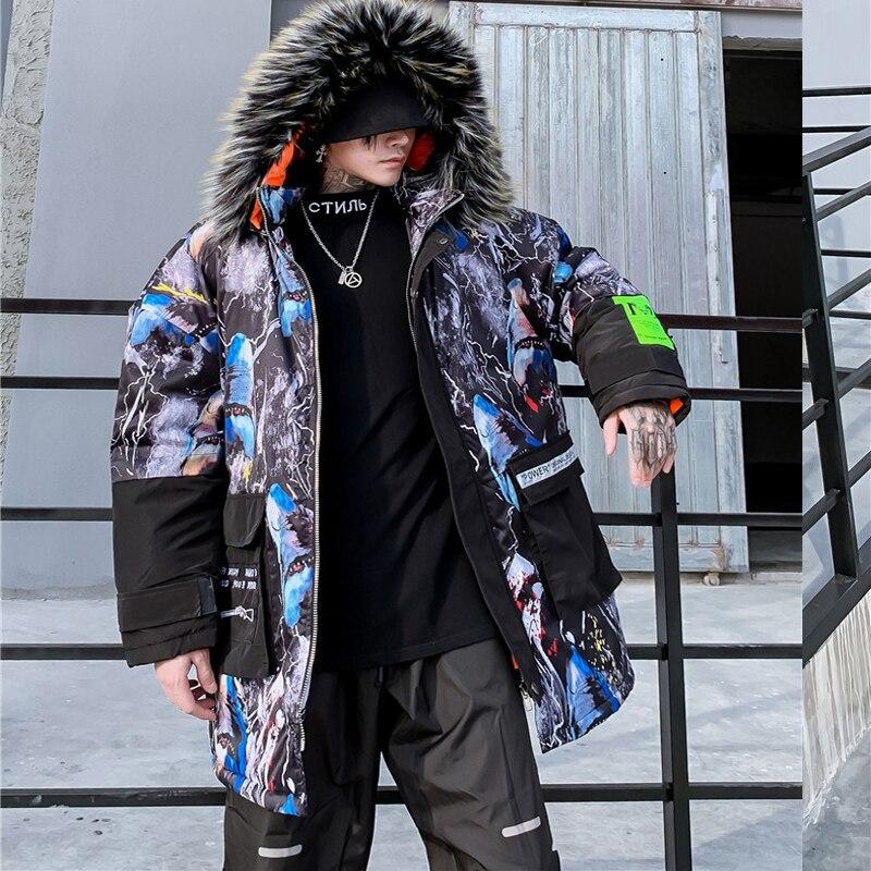 Мужская зимняя куртка с капюшоном с принтом акулы, 2019, Мужская Толстая теплая парка в стиле хип хоп, мужская повседневная куртка в стиле пэчв... - 4