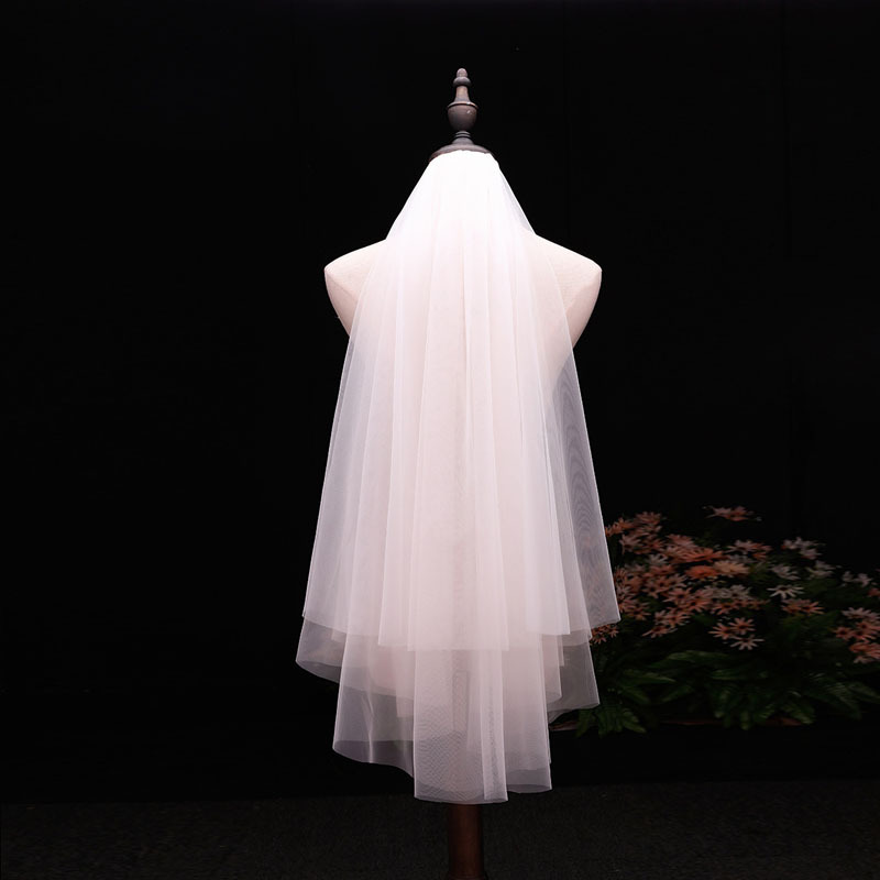 Simple Bride Veil Wedding Accessories Double Layer Hair Comb Plain Yarn White Veil Factory Direct Sales