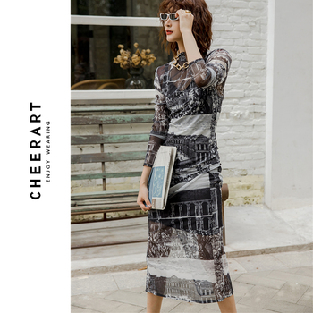 CHEERART 2020 Long See Through Mesh Dress Long Sleeve Print Turtleneck Sheer Slim Ladies Tight Dress Autumn Underwear Women 1