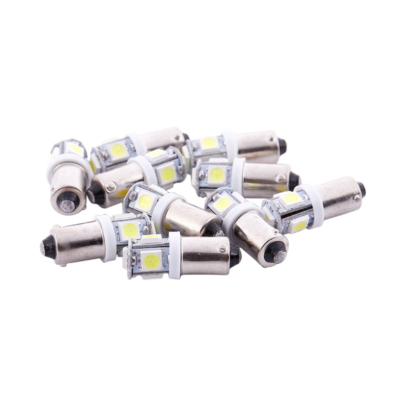 10 X White BA9S T4W 5 LED SMD 5050 Car Indicator Light Interior Bulb Lamp
