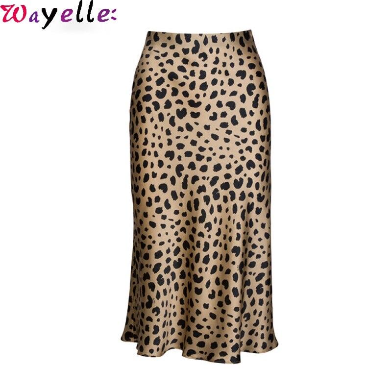 High Waist Skirt Women Leopard Midi Skirt Women Hidden Elasticized Waistband Silk Satin Skirt Slip Style Animal Print Lady Skirt