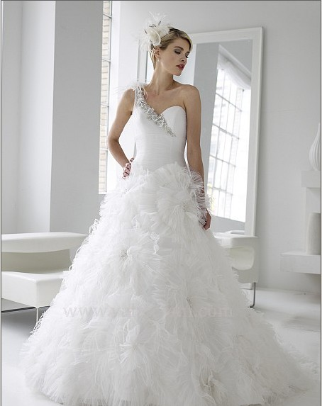 Free Shipping New Fashion 2016 Elegant Beaded Finished One Shoulder Sweetheat Organza Wedding Dresses With Crystal Bridal Gowns