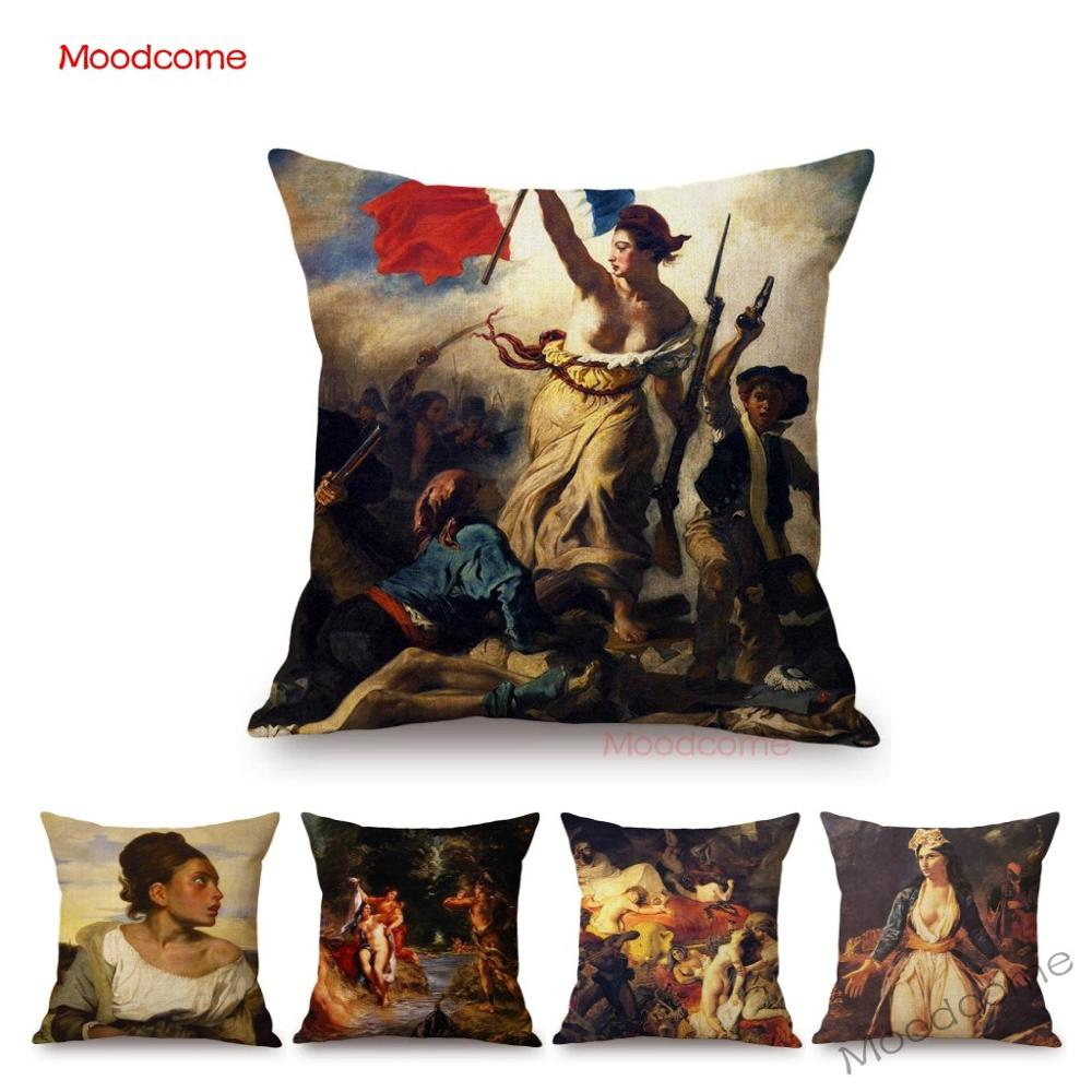 French Painter Eugene Delacroix Liberty Guiding The People Famous Oil Painting Home Decorative Pillow Case Sofa Cushion Cover