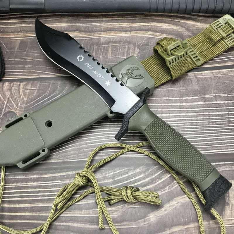 DuoClang cuchillo de hoja fija de acero 440c electroforesis rey de la selva OSO NEGRO dueza caza supervivencia militar con vaina
