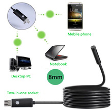 2 In 1 Endoscope 2MP 8mm HD Waterproof Industrial Endoscope 2/5/10M Hard Cable USB Endoscope Detection Mirror Camera For Android 1 3mp 960p hd cmos ar0130 low light hd usb webcam industrial microscope endoscope telescope camera with 2 8 12mm cs mount lens