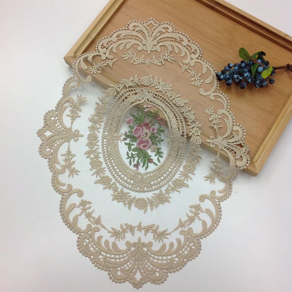 30*43cm 8Colors Wedding Dresses Lace Applique Accessories Embroidery Coaster Table Mat Fabric Furniture Decoration Trim