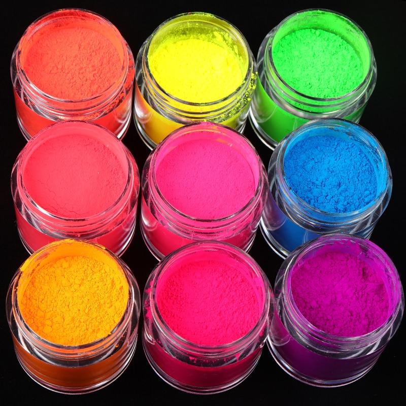 9 Colors/set Neon Pigment Powder Fluorescence Nail Glitter Summer Shinny Dust Ombre DIY Gel Manicure Nail Art Decorations 10ML