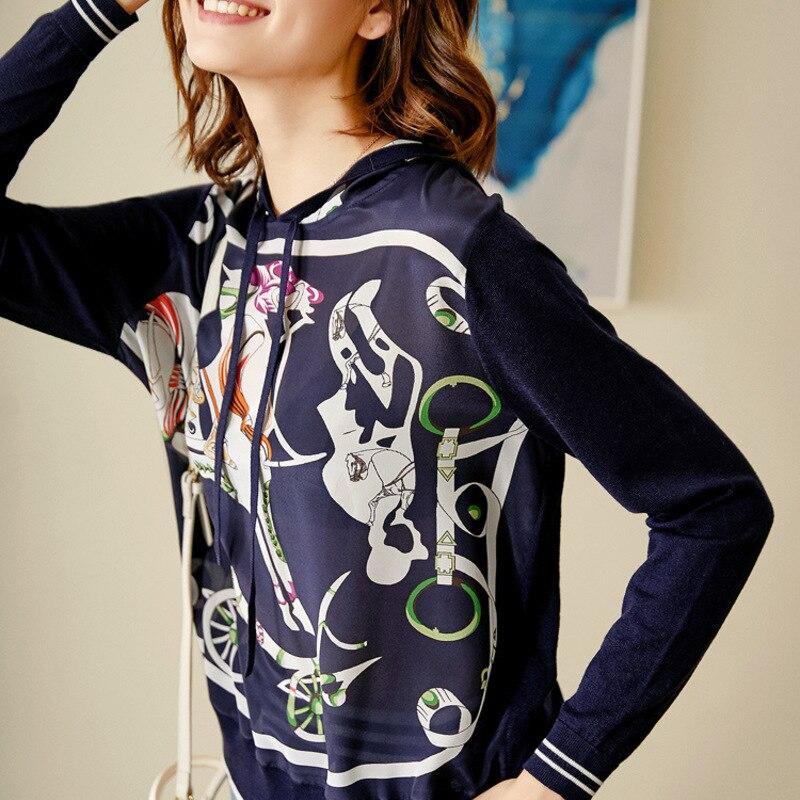 Новый шелк каретки печатных Шелковый Топ Сращивание трикотажа с капюшоном пуловер с длинным рукавом свитер женщин s