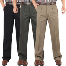 Autumn Winter Men thick Double Pleated Casual Pants High wai