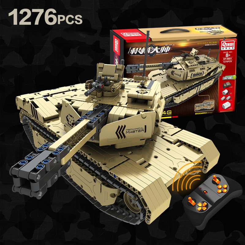 Military Series RC M1A2 Tank 50M Distance Can Rotate Launch Building Block Brick Toys Compatible with LeSET Technic-in Blocks from Toys & Hobbies
