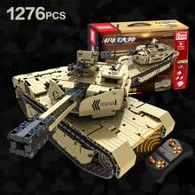 צבאי סדרת RC M1A2 טנק 50M מרחק לסובב השקת בניין בלוק בריק צעצועי תואם עם טכני