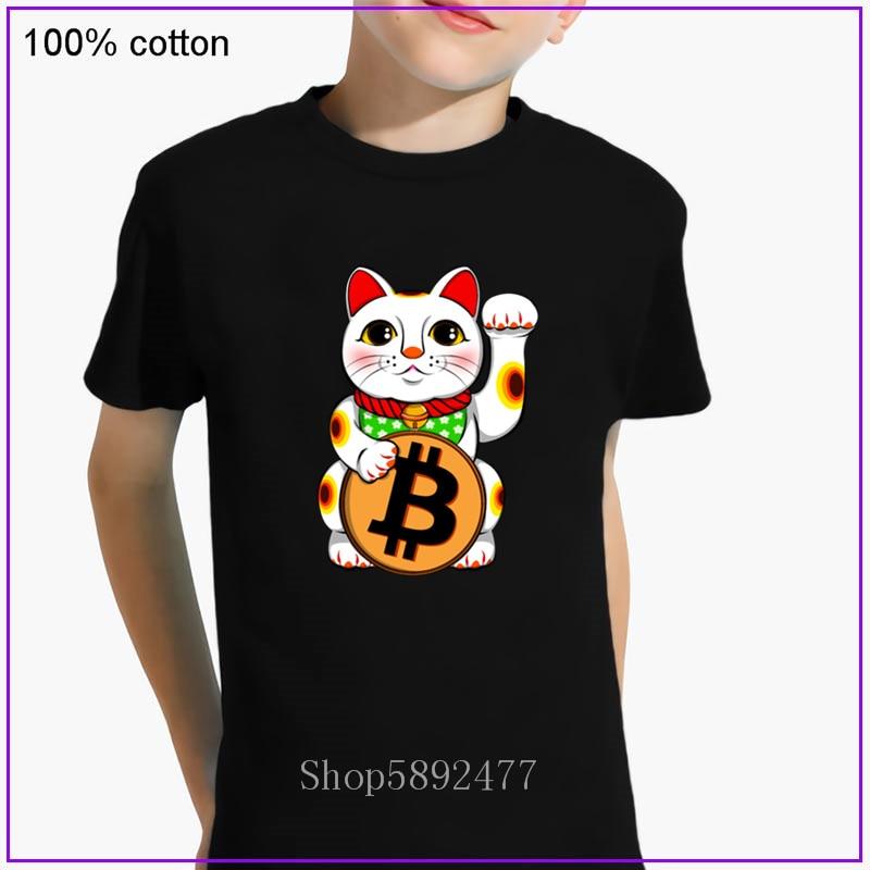 Bitcoin Lucky Cat Maneki Neko T Shirt For kids Knitted Leisure children T-Shirt Clothing Popular Family boys Tshirt O Neck Fit 1