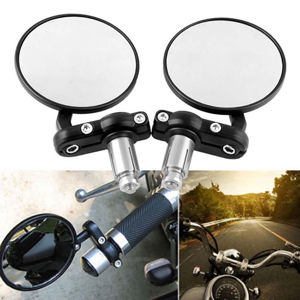 2Pcs Useful Motorcycle Mirror Black Handle Bar End Rearview Side Mirror Motor UK