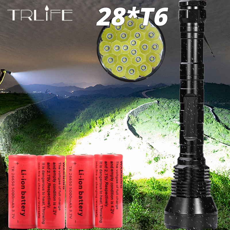 Most Brightest LED Flashlight 5 Mode 28*T6 Strong Torch Flash Light lamp torche with 4*26650 battery and Charger|lampe torche|strong torch|flashlight strong - title=