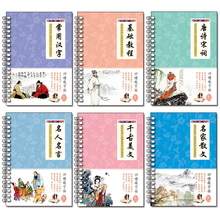 6books 3D Chinese Characters Reusable Groove Calligraphy Copybook Erasable pen Learn hanzi Adults Art writing books china s famous carving books chinese calligraphy painting seal art techniques