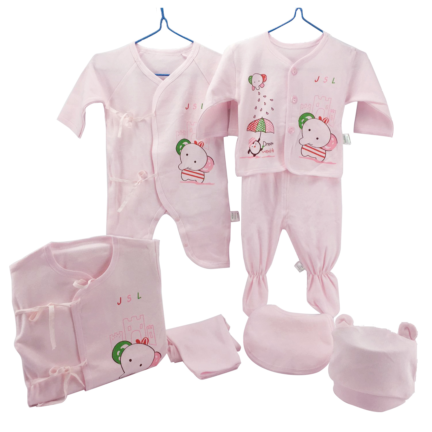 Nursery Time Girls 3pcs Long Sleeve Baby Body Vest 00-24 Months Pink Cotton New