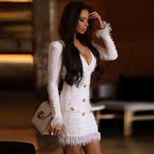 Dress Tassel White Autumn Winter Double-Breasted New Sexy Button Long-Sleeve High-Quality