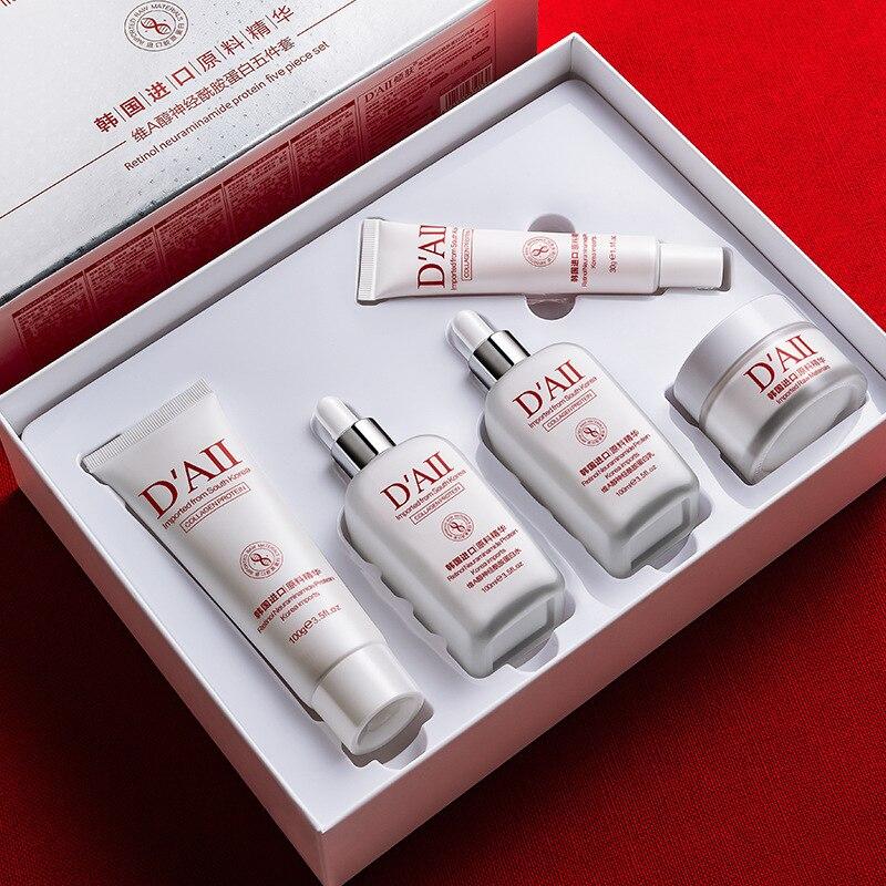 Collagen Retinol Skin Care Sets Face 5PCS Creams Cleanser Toner Lotion Eye Cream Moisturizing Hydrating Skincare Vitamin Kit