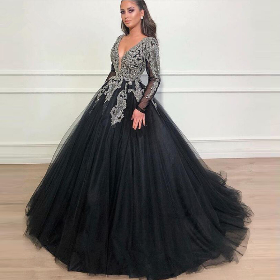 Vintage Black Crystal Evening Dresses Full Sleeves Sparkle Beaded Tutu Ball Gowns V-neck Long Evening Gowns Abendkleider