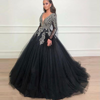 Vintage Black Crystal Evening Dresses Full Sleeves Sparkle Beaded Tutu Ball Gowns V neck Long Evening Gowns Abendkleider