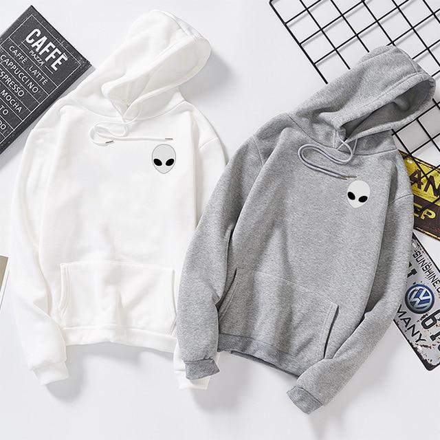 Moletom Women Men Loose Long Sleeve Hoodies Hooded Sweatshirts Cute Winter Alien Print Solid Harajuku Autumn Pullovers 3