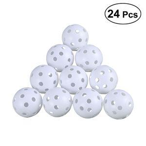 24pcs White Whiffle Airflow Hollow Plastic Golf Balls Air Flow Hollow Golf Balls for Golf Practice Golf Accessories