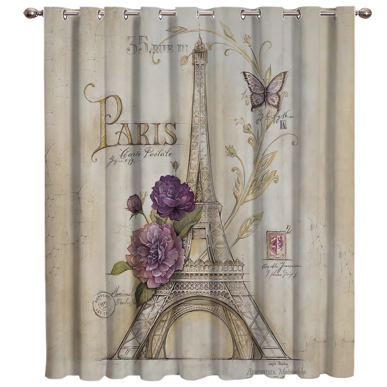 Vintage Paris Tower Butterfly Window Treatments Curtains Valance Room Curtains Large Window Window Blinds Bathroom Curtains