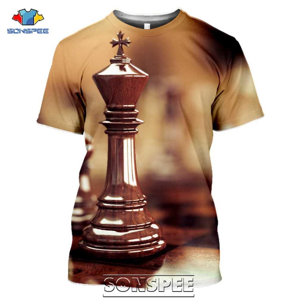 Sonspee Spel Schaken Mannen T-shirt Casual Streetwear Harajuku Cartoon Grappige 3D Digitale Art Schaakbord Pion Heren Tee shirt Homme