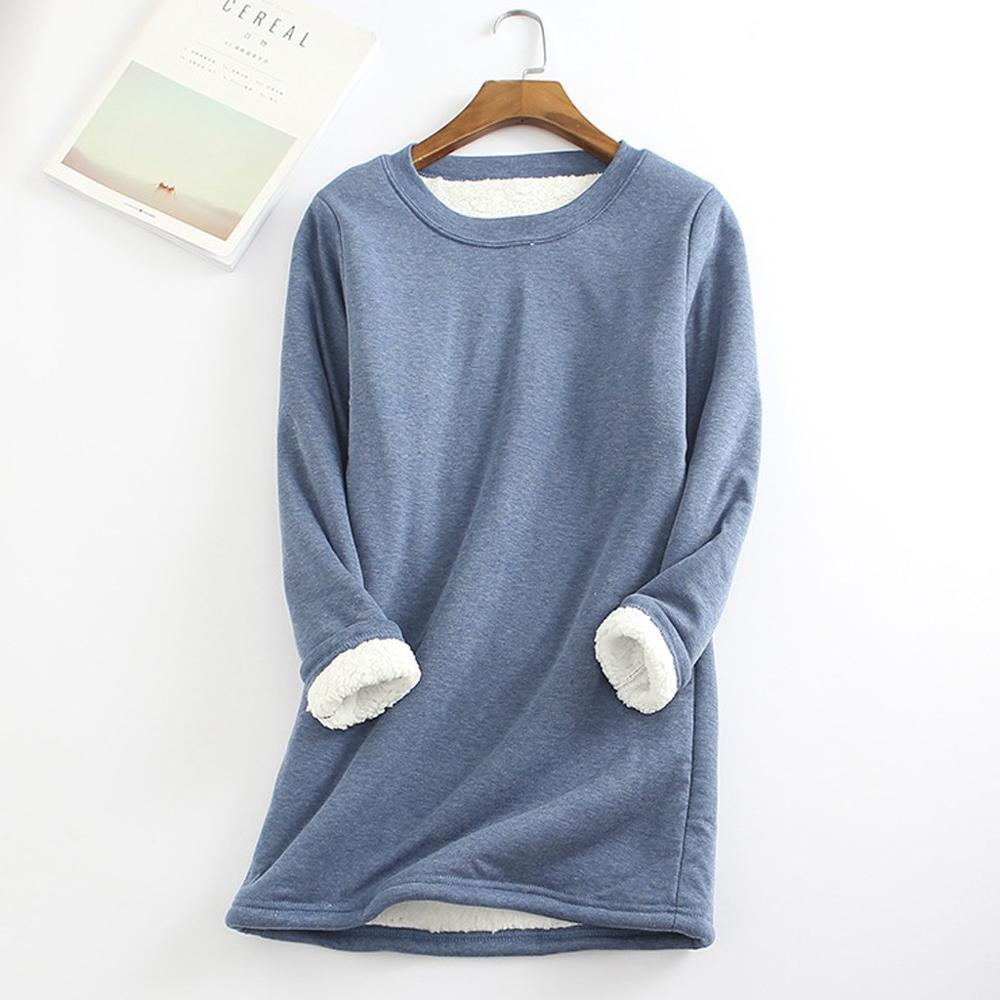2019 automne hiver Plus velours à manches longues chemise femmes chaud épais grande taille t-shirt Vintage Streetwear mince dames hauts poleras