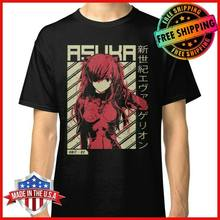 Freeship Evangelion Asuka Poster Anime T-Shirt Black Cotton Men'S Tee Street Creative Casual Short Sleeve Novelty Funny T Shirt(China)