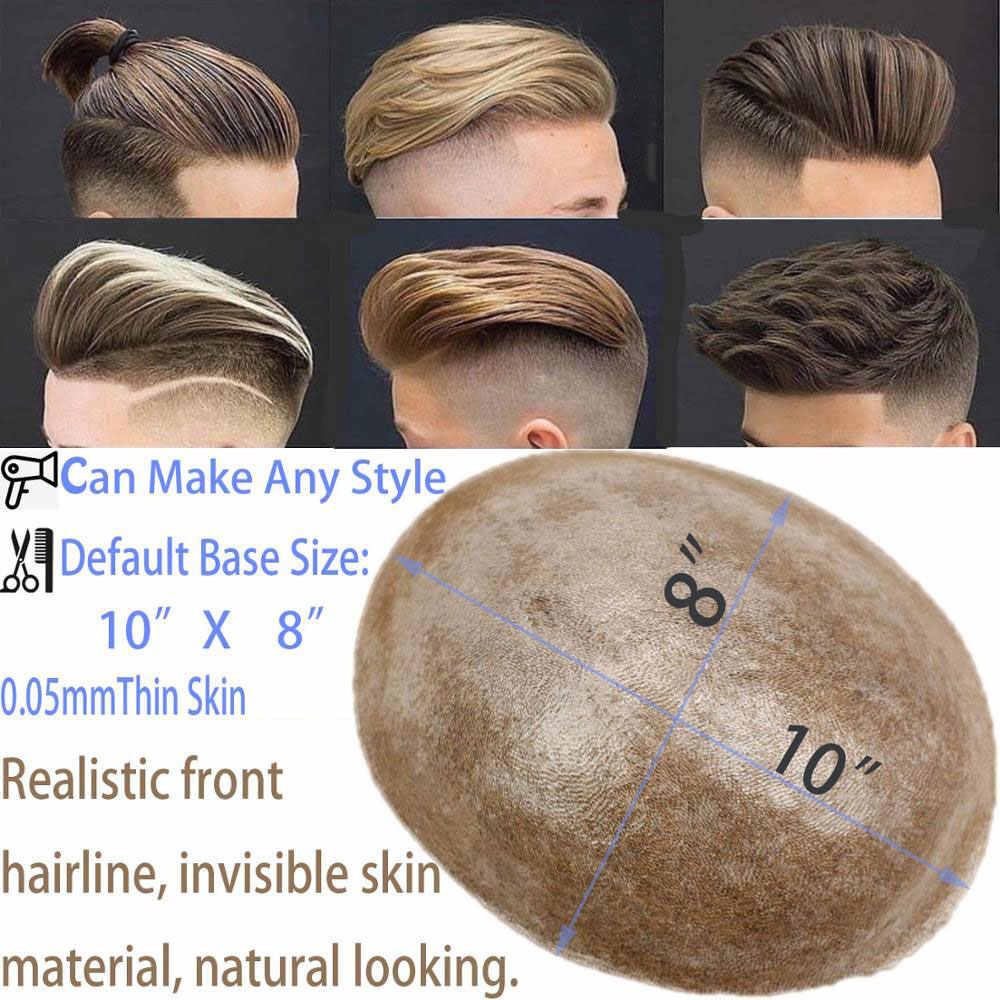 Eseewigs 21 # мужские замены волос Системы накладки из искусственных волос всей PU Base 10x8 Натуральные Прямые бразильские Реми человеческие волосы кусок